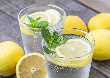 glasses of lemon water