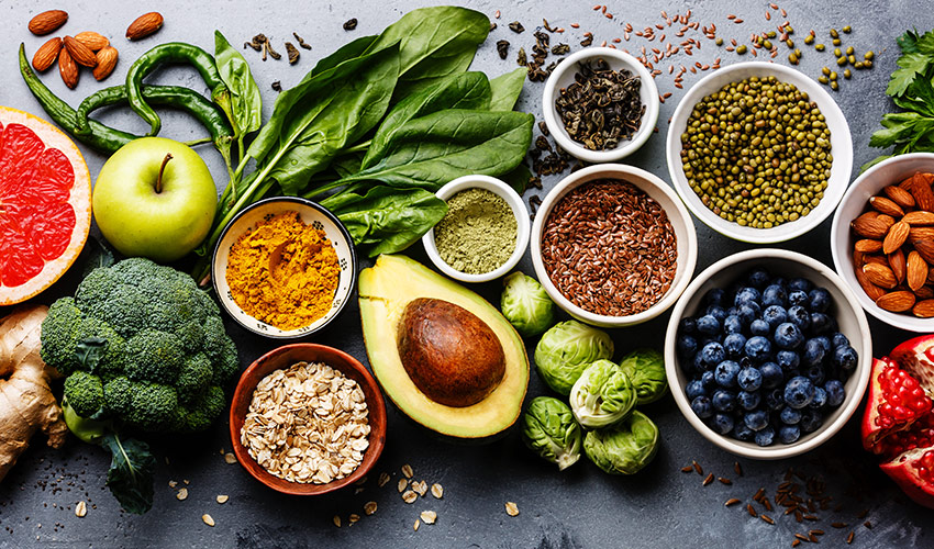 Array of healthy food options after curbing cravings